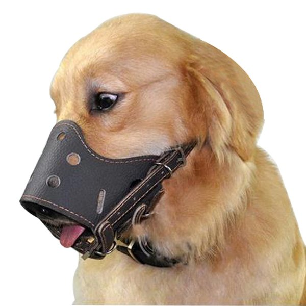 PU Leather Pet Dog Adjustable prevention bite masks Anti Bark Bite Mesh Soft Mouth Muzzle Grooming Chew Stop For Small Large Dog