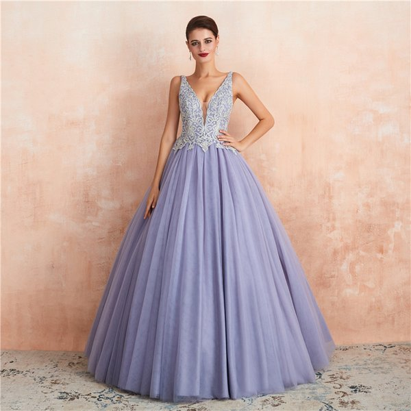 2019 fairy Lavender Evening Dresses sexy v neck tulle beaded Embroidery prom gowns sheer boho arabic fashion Party Dress gowns custom made