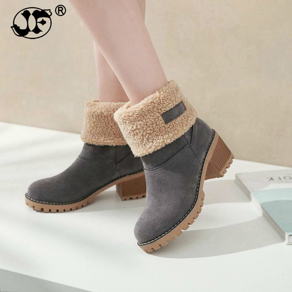 Women Boots Female Winter Shoes Woman Fur Warm Snow Boots Square heels bota feminina Ankle Boots botas mujer
