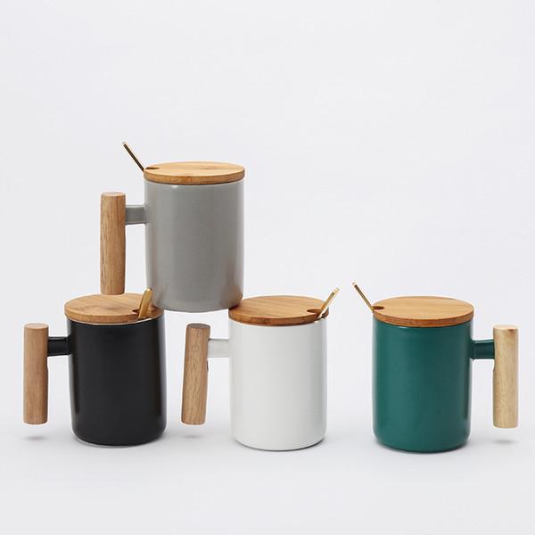 Creativo tazza di caffè manico in legno di disegno semplice del Nordic Modern Style Tazza da tè Latte succo tazza regalo di Natale tazze di ceramica