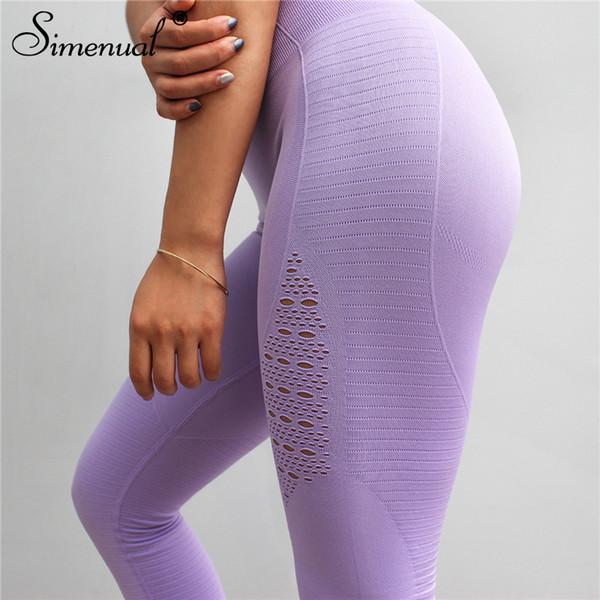 Simenual Polyamid drücken Gamaschen für Frauenloch-hohe Tailleneignung legging Sportkleidung dünne Art und Weise Bodybuilding jeggings heißes T190613 hoch
