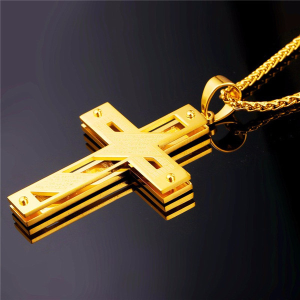 Big Cross Necklace Gold Color Stainless Steel Trendy Pendant & Chain Christmas Gift For Men/Women Holy Bible Jewelry P815