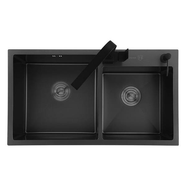 best selling Black kitchen sink double groove 304 stainless steel seamless welding sinks kitchen vegetable washing black basin sink
