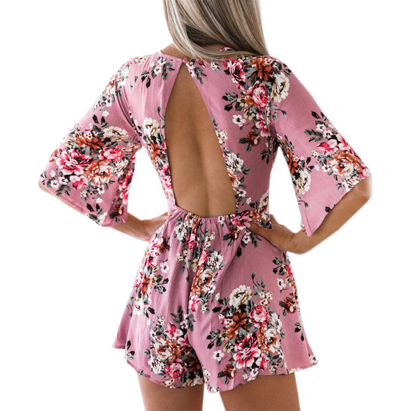 Elegant Sweet Floral Print Women Playsuits Sexy Jumpsuit Shorts New Summer Half Sleeve Party Beach Playsuit Overalls