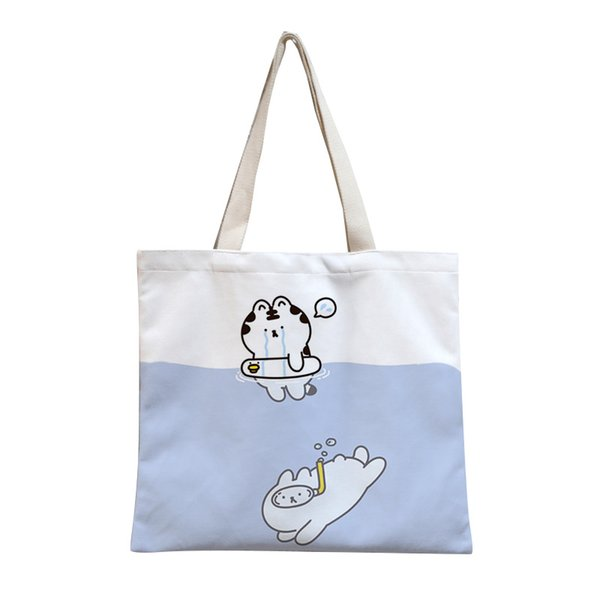 Casual Cute Tiger Print Handbags Simple Canvas Portable Shoulder Messenger Bag Reusable Hand Bag