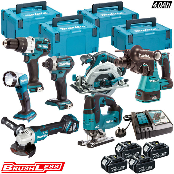 Makita 18v lxt bru hle 7pc mon ter kit with 4 x 4 0ah batterie charger ca e 11
