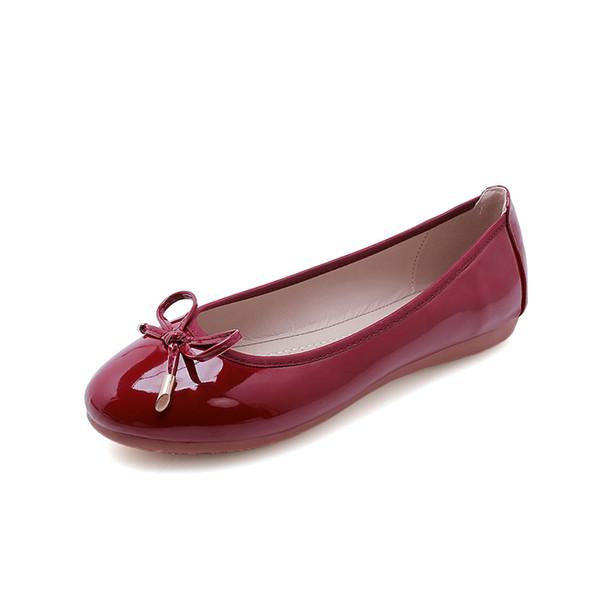 Kadınlar fantezi düz katlanabilir bale ayakkabıları 2019 papyon rahat çalışma ofisi büyük artı patent33 bayanlar üzerinde kayma bayanlar ...