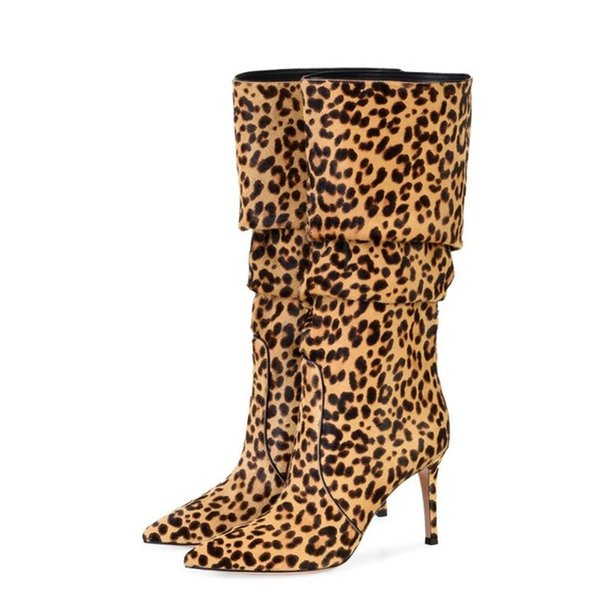 Women Pointed Toe Sexy Leopard Loose Pleated Knee Thin Heel Boots Unique Style Thigh Long Spacious Trousers Boots Big Size
