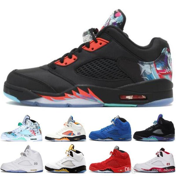 Cheap 5 New Cheap 5s Wings International Flight Mens Basketball Shoes Red Blue Suede Oregon Ducks Fluorescent Green men sports sneakers