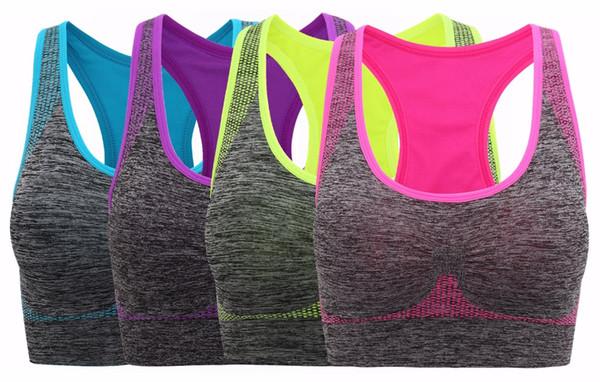 Frauen nahtlose Sport-BH High Impact Pocket Yoga BHs
