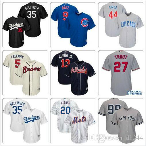 Uomini Donne gioventù Cody Bellinger Mike Trout Aaron giudice Javier Baez Anthony Rizzo Pete Alonso Los Angeles Dodgers Angeli baseball Jersey vendita