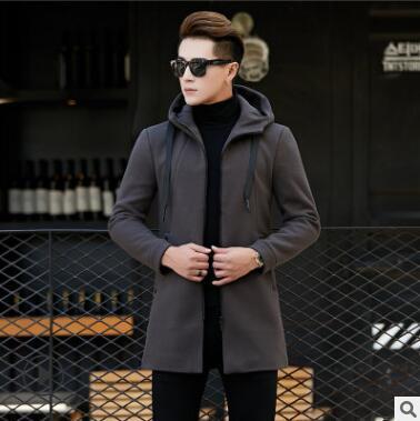 Casaco de lã dos homens do outono juventude espessamento longo e médio chapéu versão cor pura casaco de lã dos homens qz422