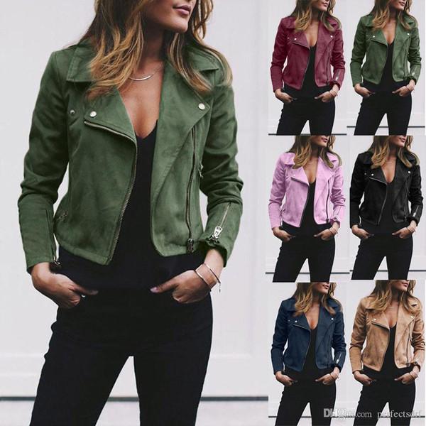 7 colori S-5XL Plus Size cappotti del rivestimento di cuoio di grande misura delle signore delle donne Zip Up Biker Volo casuale Outwear Top Coat