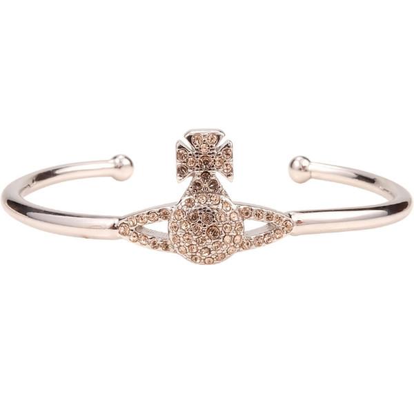 L'Europe et l'Ouest Queen Mother Bracelet en argent avec diamants lustrés et logo Saturn réglable Punk