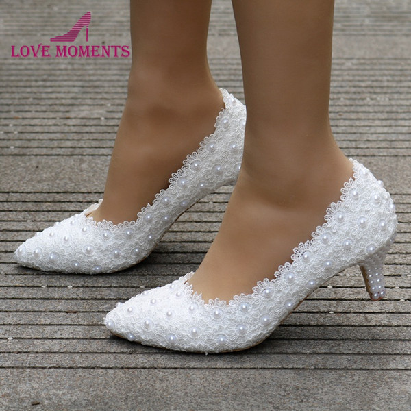2 Zoll Kätzchen Ferse Mädchen Kleid Schuhe Weiß Rosa Spitze Blume Party Prom Schuhe Plus Größe 10 Hochzeit Brautschuhe Brautjungfer