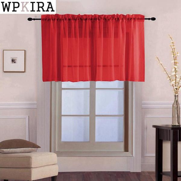 Fenster Voile drapiert Roman Tüll Küche Pure Color Einfache Sheer kurze Vorhänge Volant Für Bucht Fenster-Tür-Dekoration 18430