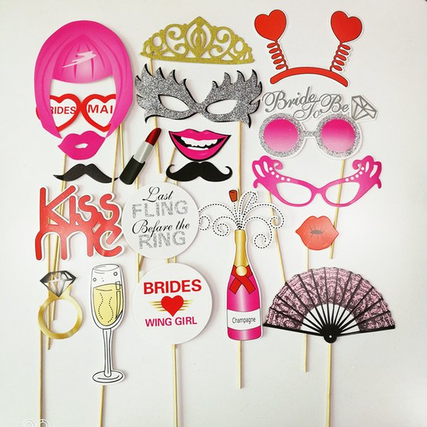 Photo Booth Props Funny Mask Glasses Mustache Lip Birthday Bride Wedding Decoration Party Accessories 2019 New