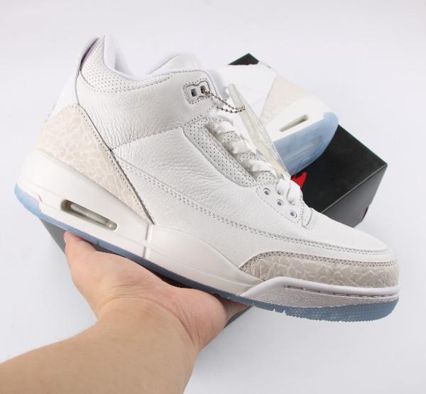 Designer 3 3s Triple Blanc Hommes Chaussures de basket-Sneaker Chaussures Casual en vente avec la boîte Free Shopping