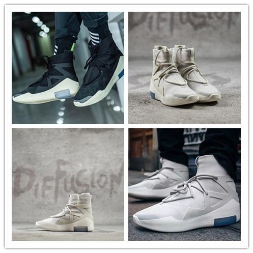 Lanzamiento 2019 Fear of God 1 Light Bone Black Sail ManCasua Shoes Zapatillas deportivas auténticas Zoom con caja original 14 3A