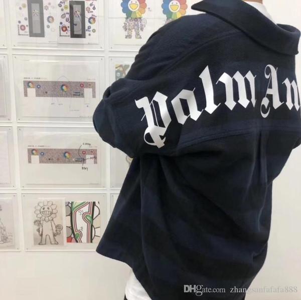 19FW Palm Engel Schultertropfenhülse übergroßen blauen Gitter Wolle Hemd Mantel Hip-Hop-Qualitäts-Art- und Herbst Winter Palme Engel Hemd