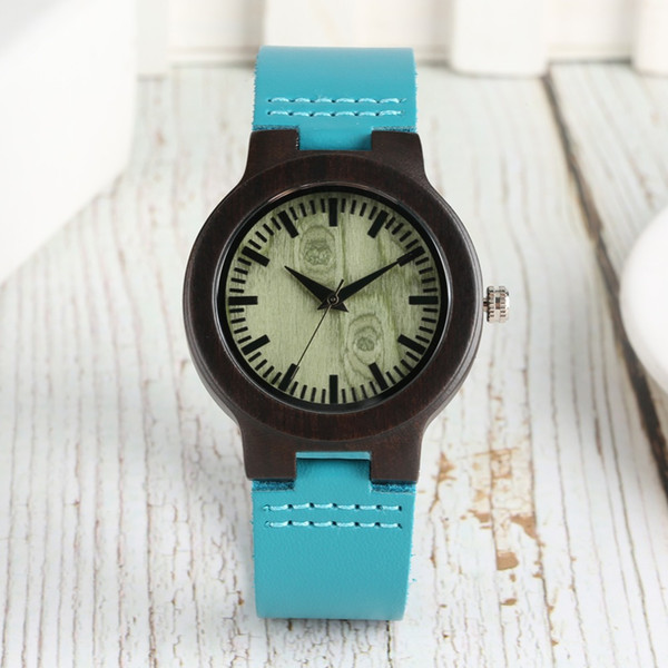 Relógio De Bambu Mulheres De Quartzo Esporte Leve Natural De Madeira Relógio De Pulso Das Senhoras Relógios de Banda De Couro Azul Relógio Presente reloj mujer