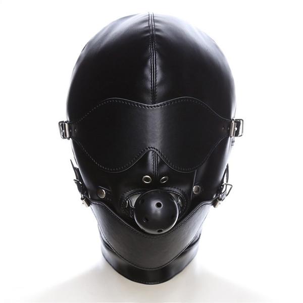 Black Sex Mask Fetish BDSM Leather Mouth Eye Slave Hood Ball Gag Sex Product Toy Bondage Erotic Costume For Couple Men Women Y191203