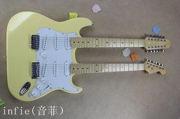 Free shipping 2019 New HOT white 7V / JEM77 Double neck electric guitar 12 String guitar & 6 String electric guitar