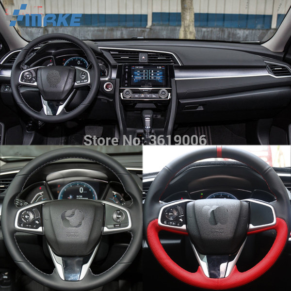 For Honda Civic Civic 10th 2016 High Quality Hand-stitched Anti-Slip Black Red Leather Red Thread DIY Steering Wheel Cover