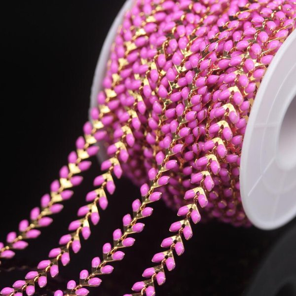 Chevron Emaille Crafts Rosa Perlen Rosenkranz Ketten, vergoldet Pfeil Form Perlen Lampwork Glas Link Kupfer Kette Halskette Schmuck