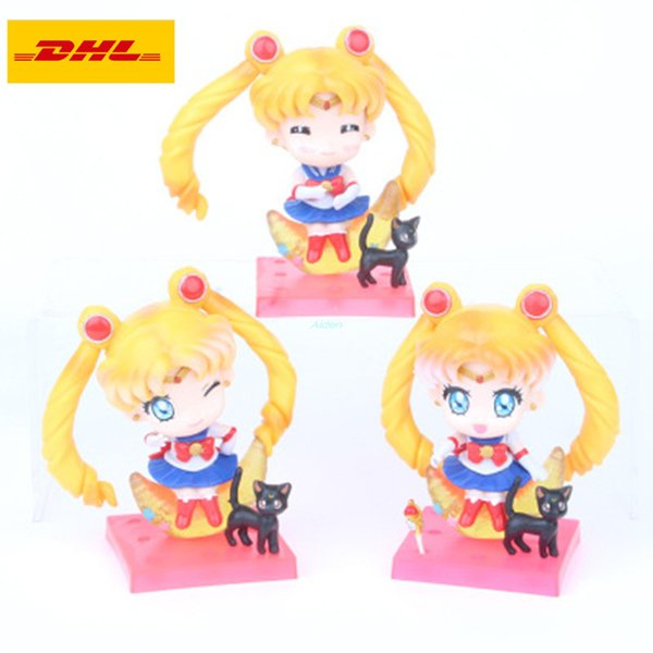 3 Pcs/set Sailor Moon Q Version Cartoon Birthday Gift Exquisite Cake Furnishing Articles Plastic Action Collectible Model Toy 10CM OPP G19