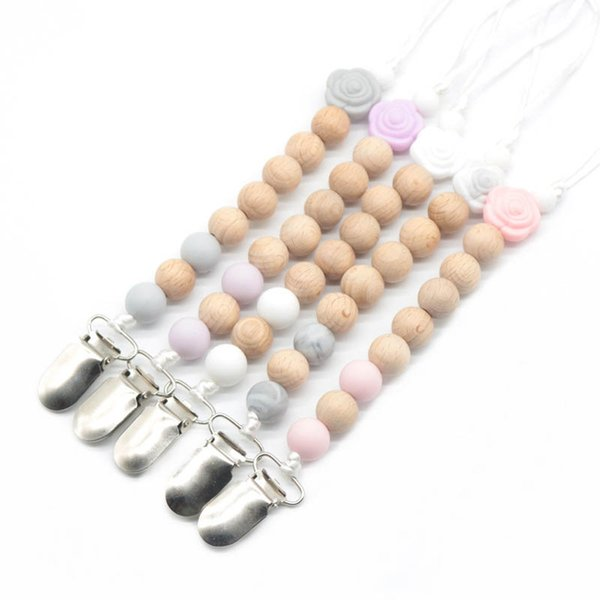 Silica Gel Wooden Bead Dummy Clip Holder Pacifier Soother Chains Baby Teething