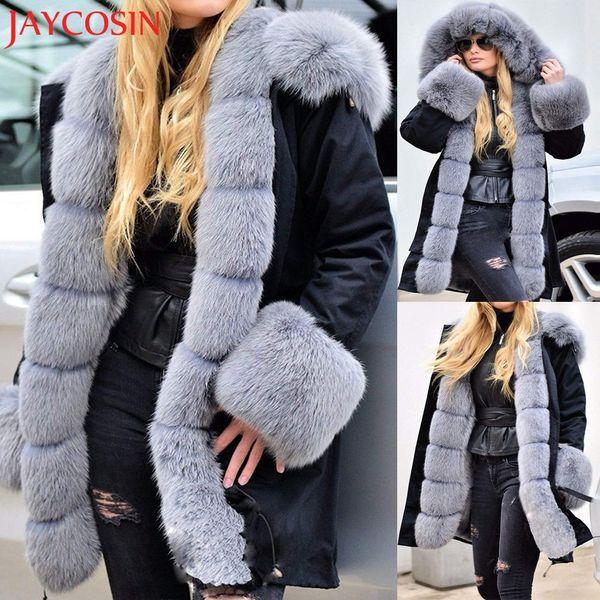 Newly Womens Faux Fur Winter Jacket Parka Hooded Coat Fishtail Overcoat Oversize Long Sleeves Coats Dropship Nov.2