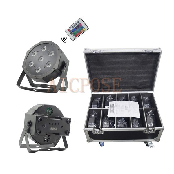10Pcs 7x12W Par Lights Small Lens with Remote control With 8 in 1 Flight Case RGBW 4in1 Flat Par Led DMX512 Disco Lights Professional Stage