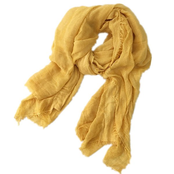 Winter Mustard Scarf Hijab Wrinkled Womens Cotton Linen Scarf Wrap Shawl Vintage Soft Oversized Scarves