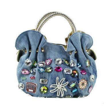 Moda feminina Lavagem Denim Hobos Sacos Ladys Criativo de Cristal Bolsas Decorativas Totes Bolsas de Retalhos de Alta Qualidade Sacos Macios