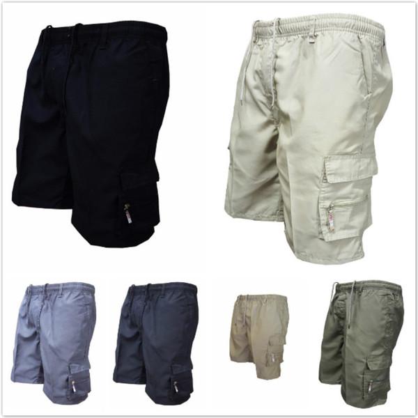 2019 Herren Military Cargo Shorts Sommer Armee grün Baumwolle Shorts Männer Lose Multi-Pocket Shorts Homme Freizeithose