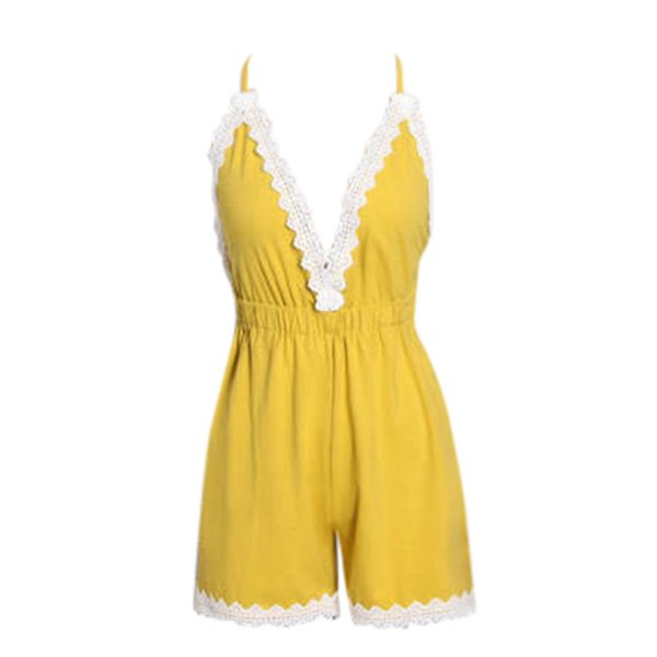 Womail overalls for women elegant Ladies Camisole Lace Backless Solid Beach Shorts Jumpsuit Playsuits body mujer bodysuit women
