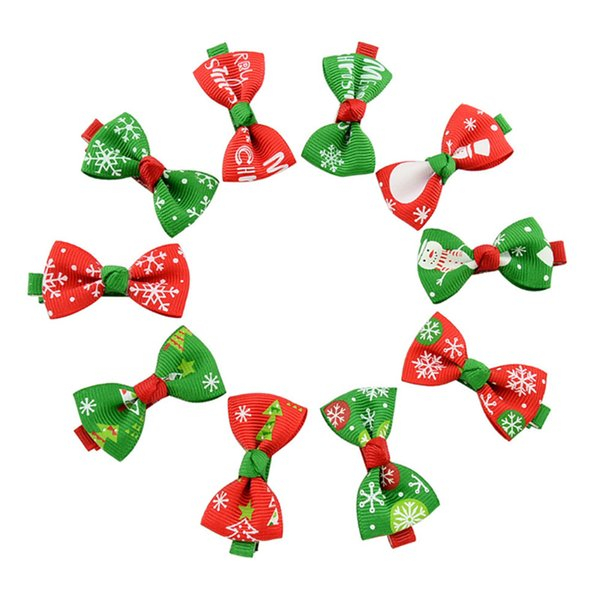 Christmas Ribbed Bow Hairpin Snowflake Snowman Butterfly Hair Clip Fashion Hair Jewelry Gifts for Chilrdren Kids Girls