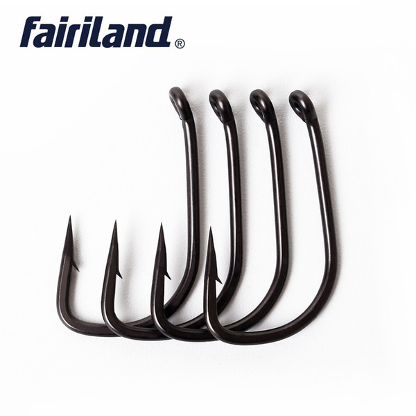 steel snap 100pcs/Lot TFSH-B Barbed s TEFLON Coated high carbon steel Carp Fishing Hook with free hook box