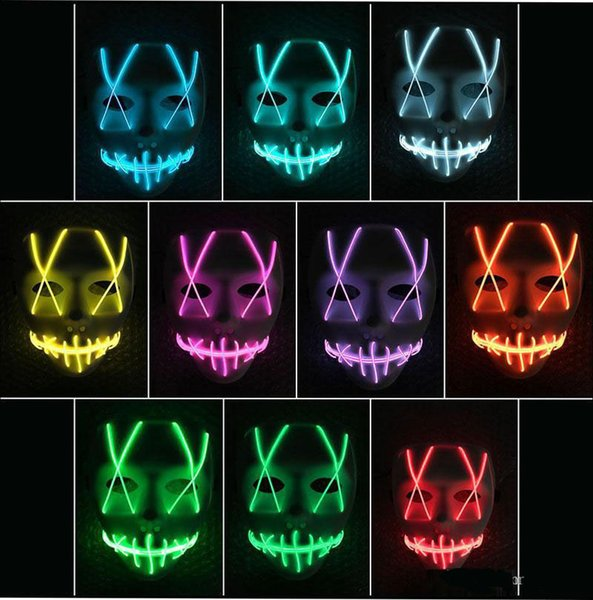 Игрушка со светодиодной маской Забавная маска Светодиодная лента Гибкая неоновая вывеска Свет Glow EL Wire Rope Неоновый свет Хэллоуин лицо Контроллер рождественские огни