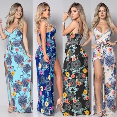 Женская длинная юбка лето с глубоким V-образным вырезом нерегулярного платья без рукавов с ремешком с принтом размера S M L XL