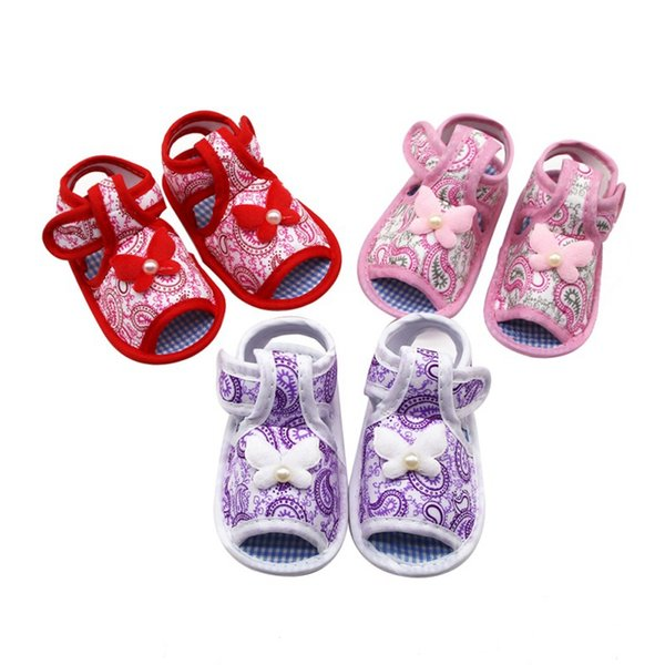 Summer Canvas Baby Shoes Baby Girl Plaid Hollow Soft-Soled Princess crib shoes Bow knot Floral Insert prewalkers