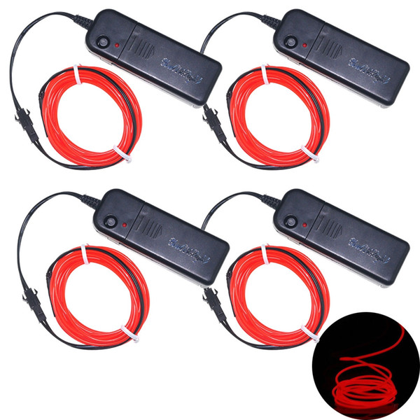 YouOkLight 3W 5V 3M Flexible Red / Green / Blue Neon EL Wire Light Dance Party Decor Light Batteries not Included 4pcs