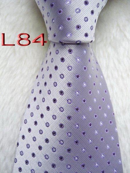 Classique 100% TISSÉ JACQUARD Mens Perfect Design HANDMADE lavande multicolore style hommes cravate en soie cravate # L84