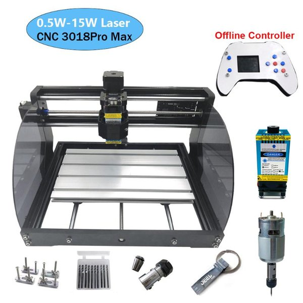 top popular 3018 Pro Max Laser Engraving Machine Power 0.5W-15W 3axis CNC Router DIY MINI Woodworking Laser Engraver With Offline Controller 2021