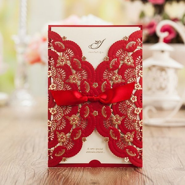 Wishmade Red Laser Cut Wedding Invitations Cards With Bowknot Lace Flower Cardstock For Engagement Baby Shower Birthday Wedding Reception Invitation
