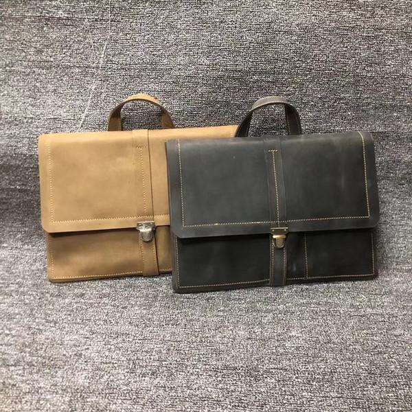 Avrupa ve Amerikan moda eğlence erkek gerçek deri çanta belge çanta çok fonksiyonlu belge kafa derisi çanta com