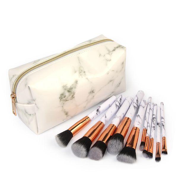 Hot sale MAANGE 10Pcs/Set Marbling Makeup Brushes Kit Marble Pattern with PU Brush Bag Powder Contour Eye Shadow Beauty Make Up Brush