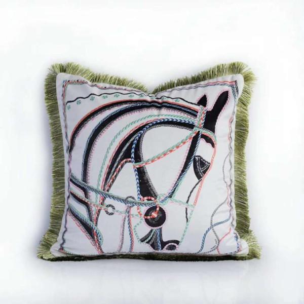 Decoration Cushion Cover *women Throw Pillow Case Vintage Velvet Horse Print Luxury Home Office Sofa Chair Coussin Almofada