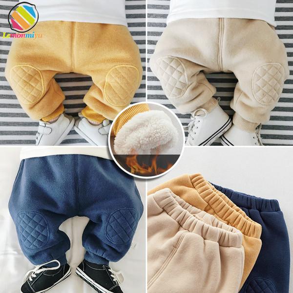 Lemonmiyu hiver bébé pantalon nouveau-né décontracté solide épaissir harem pantalons chauds coton élastique ainsi que velours bambin bébé jambières